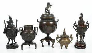 Five Asian Bronze Figural Censers