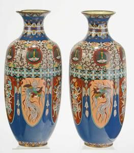 Large Pair Japanese Cloisonné Vases