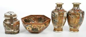 Four Japanese Gilt Porcelain Satsuma Objects