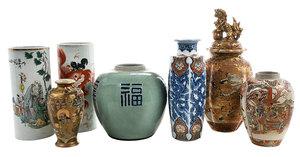 Seven Asian Porcelain Vases And Jars