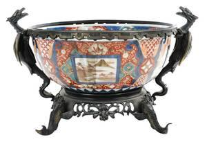 Asian Bronze Mounted Imari Porcelain Bowl