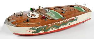 Chris Craft Speed Boat Model, Hand Painted Dragon