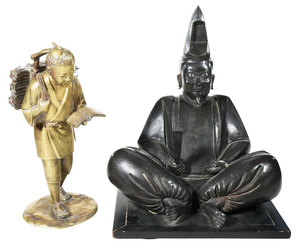 Two Japanese Bronze Figures
