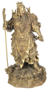 Large Asian Bronze Figure Of A Standing Warrior