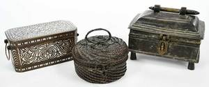 Three Asian Bronze and Brass Lidded Boxes