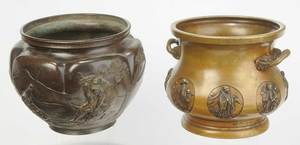 Two Asian Bronze Relief Decorated Cachepots