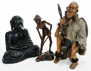 Three Decorative Asian Figures, Carved Wood