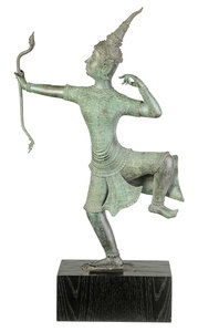 Southeast Asian Patinated Bronze Archer