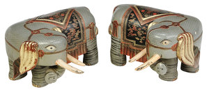 Pair of Gilt and Polychrome Wood Elephants