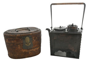 Japanese Saki Warmer and Teapot in Basket