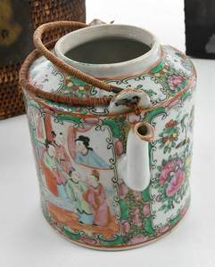 Japanese Saki Warmer and Teapot in Basket