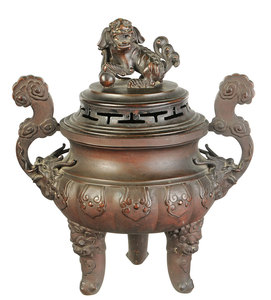 Chinese Patinated Bronze Lidded Censer