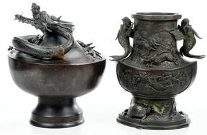 Two Large Bronze Vases with Animals