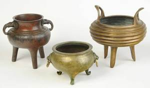 Three Asian Bronze Decorated Censers