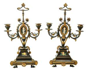 Pair Aesthetic Movement Parcel-Gilt Candelabra