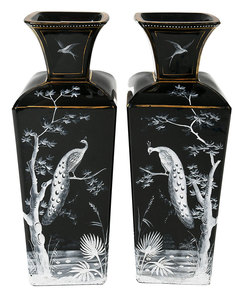 Pair Black Amethyst Glass Enamel Decorated Vases