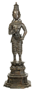 Large Asian Standing Bronze Figure Of Buddha