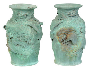 Pair Asian Relief Decorated Bronzes