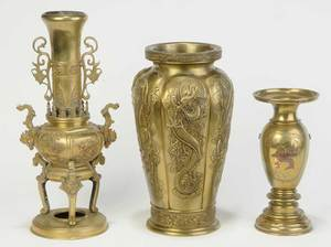 Three Asian Brass Vases