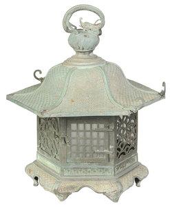 Chinese Patinated Bronze Hanging Lantern