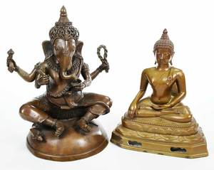 Two Asian Bronze Figures, Ganesh and Buddha