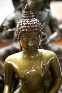 Two Asian Bronze Figures, Ganesh and Buddha