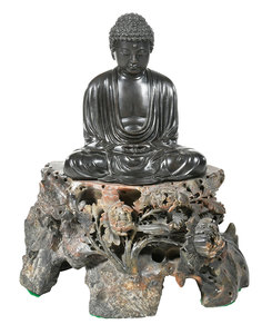 Japanese Bronze Buddha on Carved Soapstone Base
