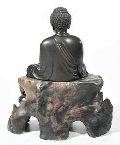 Japanese Bronze Buddha on Carved Soapstone Base