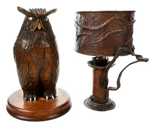 Folk Carved Owl and Arts and Crafts Lamp