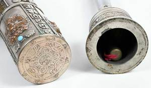 Two Asian Scroll Holders, Pipe, Temple Bell