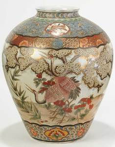 Large Asian Enameled Crane and Blossoms Vase