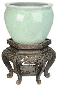 Cedadon Porcelain Jardinere On Carved Stand