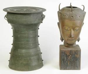 Southeast Asian Buddha Head, Rain Drum