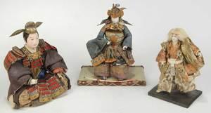 Three Japanese Hina Male Dolls