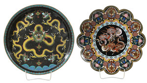 Two Asian Cloisonné Table Items With Dragons