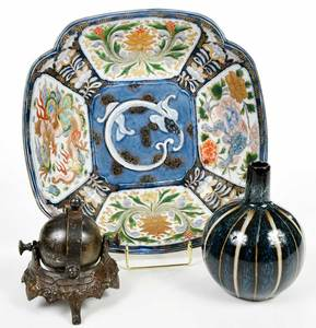 Three Asian Porcelain and Bronze Items