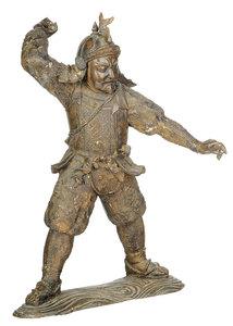 Asian Bronze Figure Of A Standing Warrior