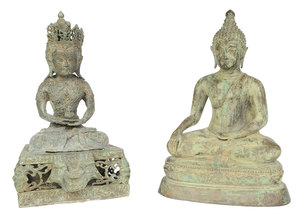 Two Patinated Bronze Buddha Figures