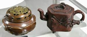 Chinese Yixing Teapot and Bronze Koro Censer