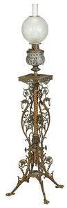 Matthews & Willard Brass Banquet Lamp with Globe