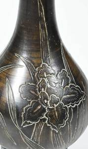 Six Asian Bronze Vases With Floral Decorations