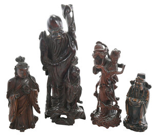 Four Vintage Asian Carved Figurines