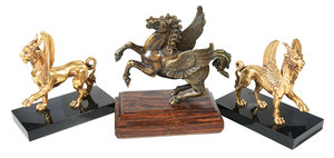 Three Bronze Mythical Animal Figures On Bases