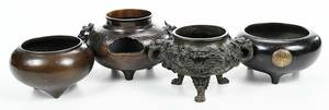 Four Asian Bronze Decorated Bowls