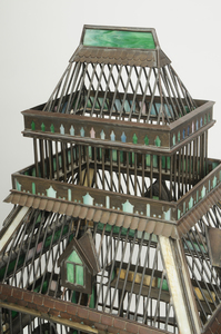Arts and Crafts Brass and Slag Glass Bird Cage