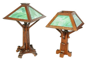 Two Arts and Crafts Slag Glass Library Lamps