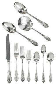 Wallace Rose Point Sterling Flatware, 59 Pieces