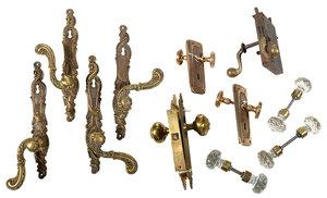 Twenty Bronze And Cut Glass Door Knobs And Sets