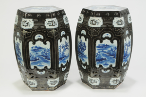 Pair Chinese Blue and White Garden Seats