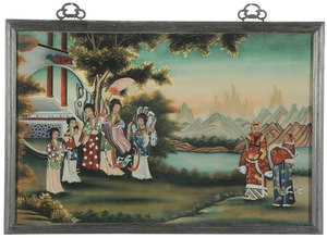 Large Pair Chinese Reverse Paintings On Glass
